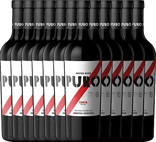 12er Paket - Puro Corte 2019 - Dieter Meier mit VINELLO.weinausgießer | trockener Rotwein | argentinischer Biowein aus Mendoza | 12 x 0,75 Liter