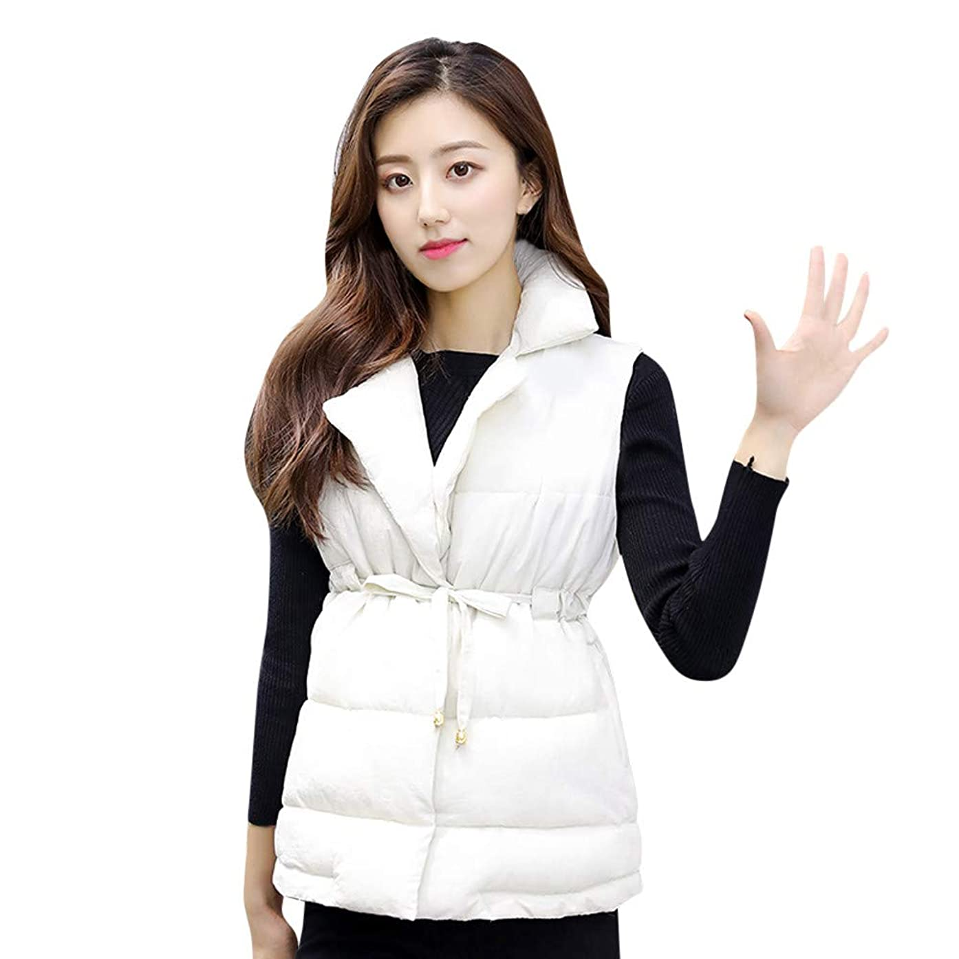 Usstore  Women's Sleeveless Short Slim Coat, Cotton-Padded Jackets Vest Pocket with Zip Jacket Coats
