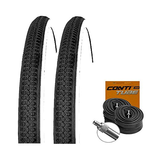 KENDA Set: 2 x K141 schwarz-Weiss Fahrrad Reifen 40-635 (Sondergröße) + Conti Schläuche Dunlopventil