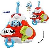 alles-meine.de GmbH 3-D Effekt _ Activity Baby & Kleinkind - Spielzeug -  die Schlümpfe / Schlumpf  - incl. Name - mit Kuscheltier - ideal für Bett & Laufgitter / Kinderwagen -..