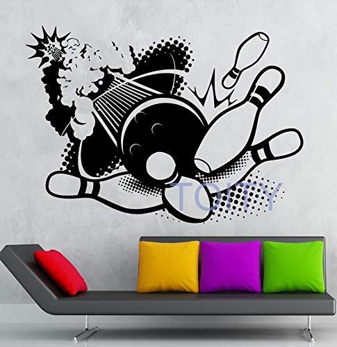 zhuziji Bowling Wandaufkleber Sport Entertainment Center Vinyl Aufkleber Home Room Interior Design ls Sport Club De67.2x94.8cm