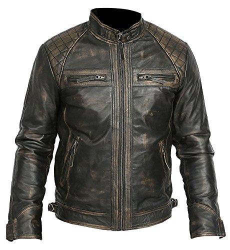 EU Fashions Herren Vintage Motorrad Cafe Racer Retro Moto Distressed Lederjacke Gr. M, K. Washed Rub Off Effekt Jacke