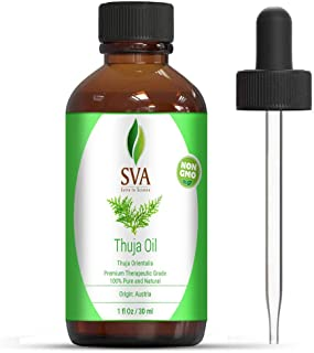 SVA Organics Thuja Essential Oil 1 Oz 100% Pure Natural Undiluted Premium Therapeutic Grade Oil for Aromatherapy, Diffuser...