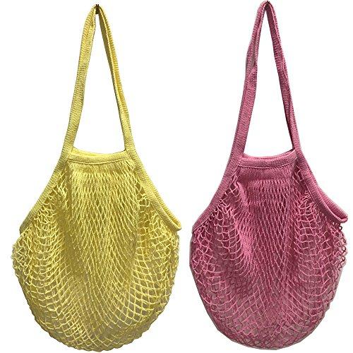2 bolsas de malla de algodón lavable, para compra o como bolso de mano, portátiles, reutilizables, con asa larga para llevar al hombro, algodón, Lyellow Lpink, Large