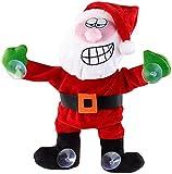 infactory Animierte Weihnachtsdeko: Singender & Tanzender Weihnachtsmann mit Saugnäpfen & Geräusch-Sensor (Weihnachtsmann mit Geräuschsensor)