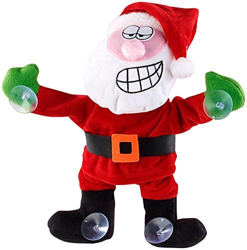infactory Singende Weihnachtsdeko: Singender & Tanzender Weihnachtsmann mit Saugnäpfen & Geräusch-Sensor (Animierte Weihnachtsdeko)
