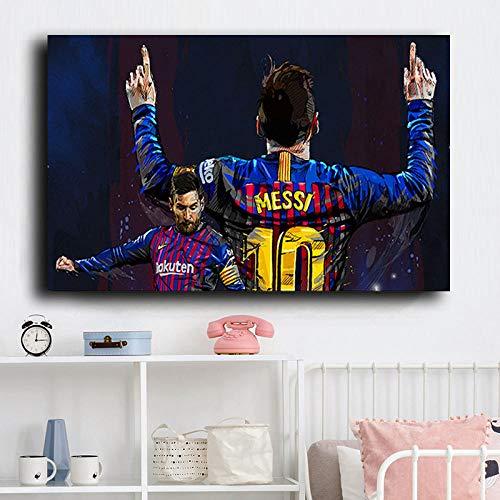 Jugador de fútbol moderno estrella lionel messi lienzo pintura carteles e impresiones cuadro de arte de pared para sala de estar...