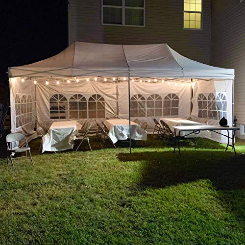 DOIT 10ft x 20ft Outdoor Pop up Shade Instant Folding Canopy with 4 Removable Side Walls,Party Tent,Portable Wheeled Carrying Bag,White