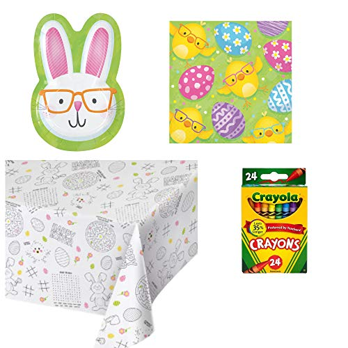 Kids Easter Table Coloring Activity Party Supply Pack for 8 People | Bundle Includes Plates, Napkins, Crayons and Paper Coloring Table Cover | Happy Easter Design