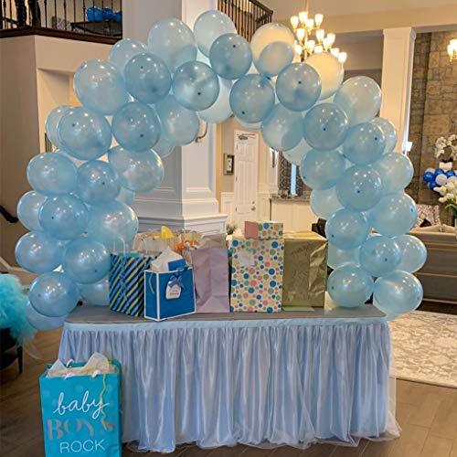 NSSONBEN Falda de mesa de tul azul para fiestas de bebés, bodas, cumpleaños, cumpleaños infantiles, 275 cm de largo x 77 cm de alto