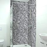 Adhesivo para pared de ducha, duradero, de PVC duro autoadhesivo de 0,4 mm, resistente a los arañazos, fácil de limpiar, tamaño muestra A4, diseño: estructura de espátula gris