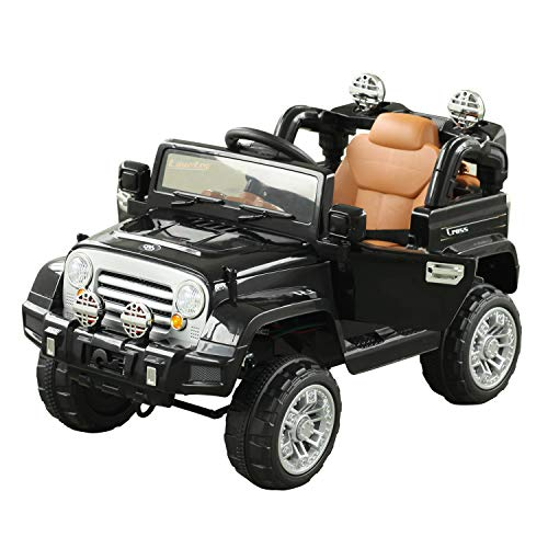 Aosom Kids Ride-on Car, Off-Road Truck with MP3 Connection, Working Horn, Steering Wheel, and Remote Control, 12V Motor, Black
