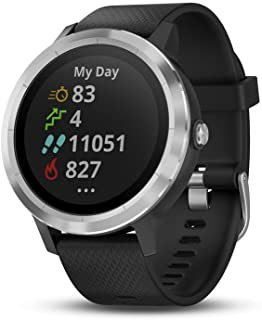 Garmin 010-01769-01 Vivoactive 3, GPS Smartwatch with Contactless Payments and Built-In Sports Apps, Black with Silver Har...
