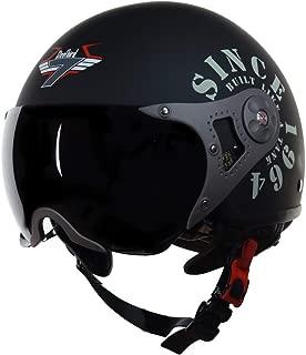 Steelbird SB-27 7Wings Tank Open Face Graphic Helmet (Large 600 MM, Matt Black/Military Green with Smoke Visor Aerodynamics Off-Roading Open Face Adventure Helmet For Heavy Machine Bikes)