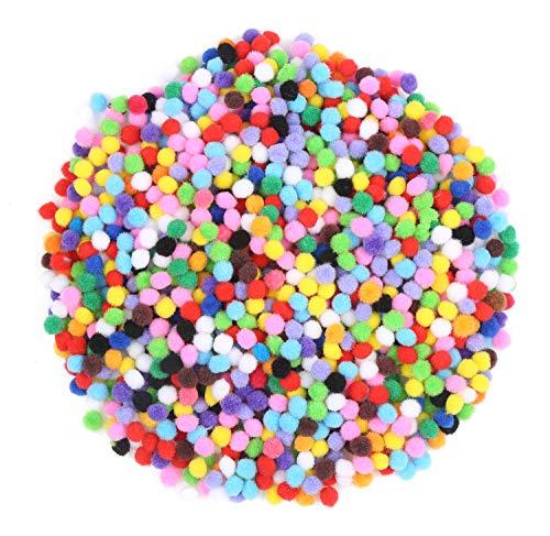 LOAVER 8mm/0.31Inch Multicolor Pompoms,Pom Poms for DIY Creative Crafts Decorations-2000 Pieces