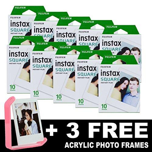 Fujifilm Instax cuadrado marcos de fotos de película instantánea (100) + 3libre acrílico