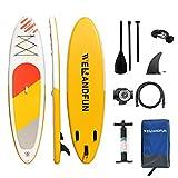 WelandFun - Tabla hinchable para adultos (300 x 81 x 15 cm) con accesorios Premium Sup Bolsa de transporte, control de surf, puente antideslizante, correa, remo y bomba