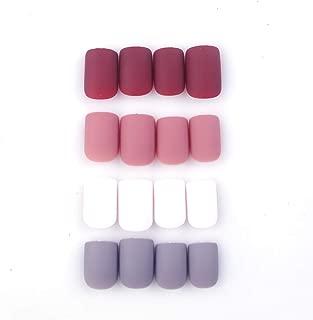 96Pcs Colorful Acrylic Nails Full Cover Short Square Matte False Gel Nails Art Tips Sets (Romantic Flowers)