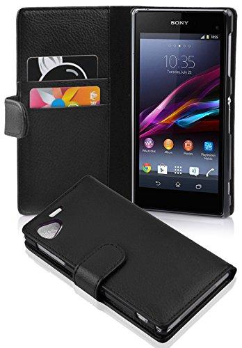 Cadorabo Funda Libro para Sony Xperia Z1 Compact en Negro ÓXIDO - Cubierta Proteccíon de Cuero Sintético Estructurado con Tarjetero y Función de Suporte - Etui Case Cover Carcasa
