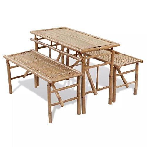 Fesjoy Portable bière pique-nique pliante Set de table en bois Set Top Pliable en bambou Ensemble Weatherproof résistant à l'usure étanche
