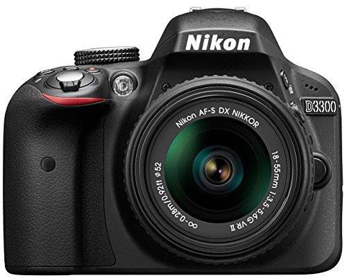 Nikon D3300 Kit Fotocamera Reflex Digitale con Nikkor 18 55VR II New F, 24.2 Megapixel, LCD 3 Pollici, Nero [Versione EU] (Ricondizionato) )