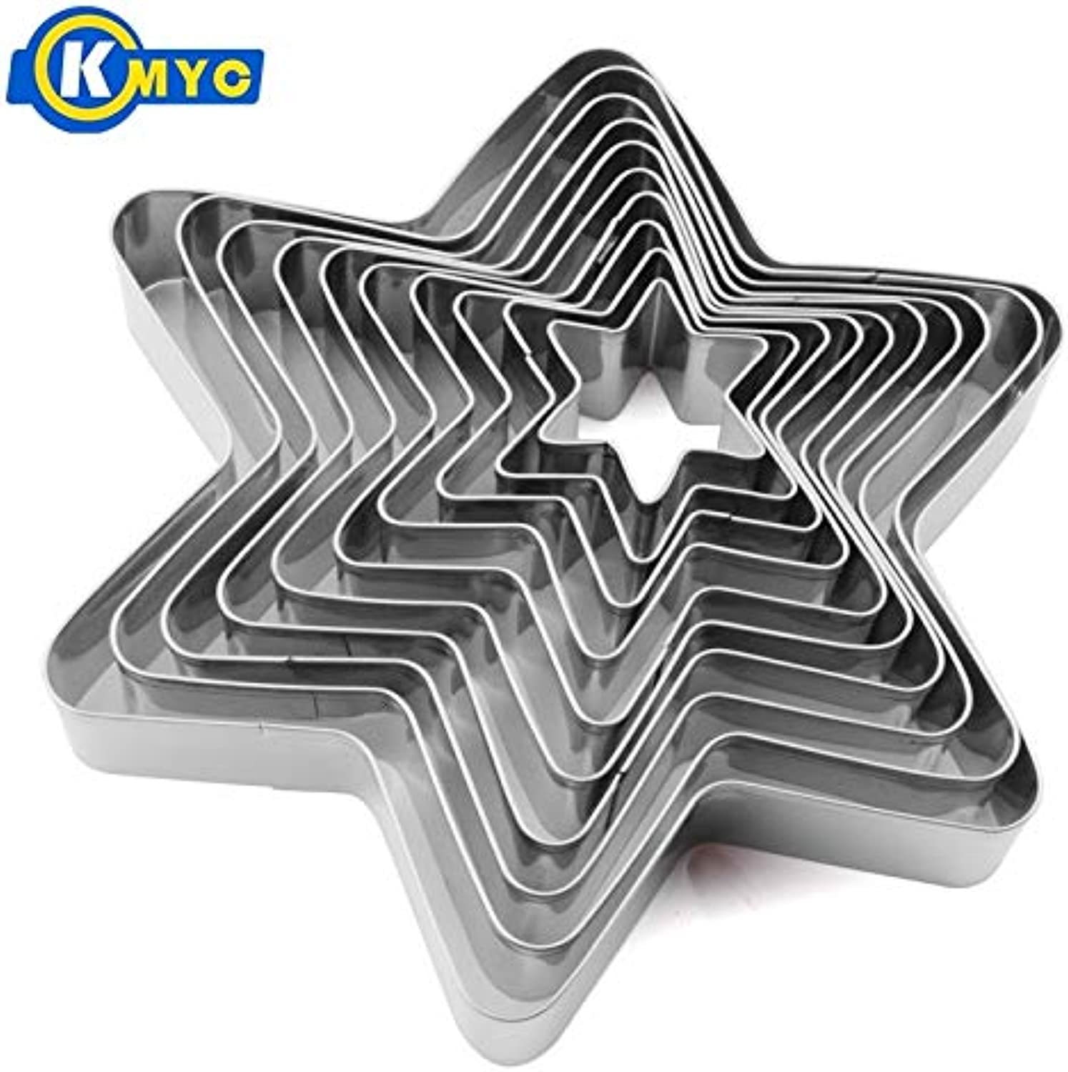 KMYC 10 PCS Stainless Steel Star Cookie Cutter Set for DIY Baking Decorating Fondant Decorating Molds Kitchen Baking Tools