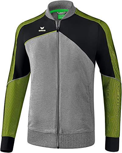 ERIMA Herren Jacke Premium One 2.0 Präsentationsjacke, grau melange/schwarz/lime pop, XL, 1011806
