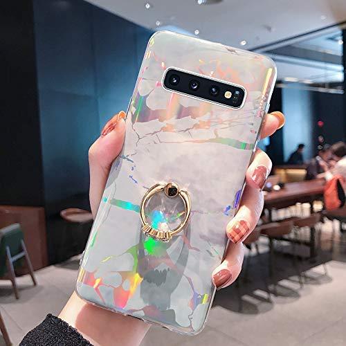 NSSTAR Compatible avec Samsung Galaxy S10e Coque avec avec Anneau Support Paillette Brillante Strass Marbre Motif Coque Silicone Antichoc Housse Étui TPU Ultra Mince Souple Bumper Housse,Gris