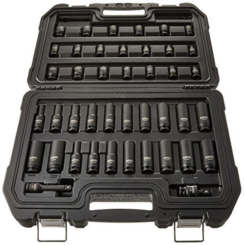 DEWALT Impact Socket Set, Combination, SAE/MM, 3/8-Inch Drive, 42-Piece (DWMT19248)