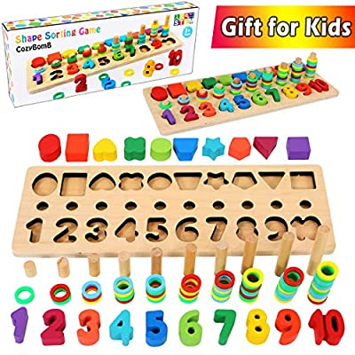 CozyBomB Wooden Number Puzzle Sorting Montessori Toys for Toddlers - Shape Sorter Counting Game for Age 3 4 5 Year olds Kids - Preschool Education Math Stacking Block Learning Wood Chunky by CozyBomB