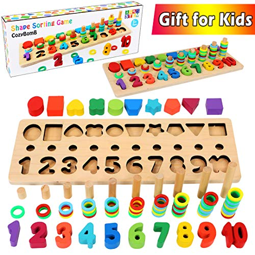 CozyBomB Wooden Number Puzzle Sorting Montessori Toys for Toddlers  Shape Sorter Counting Game for Age 3 4 5 Year olds Kids  Preschool Education Math Stacking Block Learning Wood Chunky Jigsaw