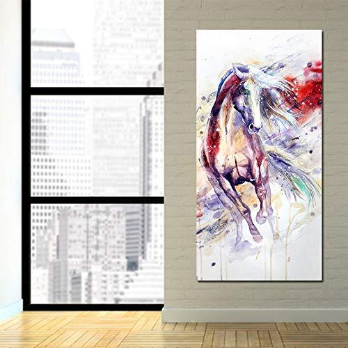 RTCKF HD High-Definition-Mikro-Jet-Druck Wohnzimmer dekorative Malerei Wandbilder Aquarell Tier Pferd Moderne dekorative Malerei ohne Rahmen J4 60cmx120cm