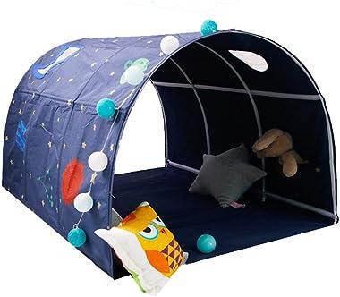 HI Suyi - Tenda a tunnel per letto a soppalco, per letto singolo, larghezza 90 – 100 cm, colore: Blu