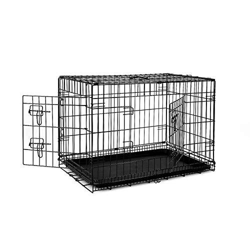 Dibea DC00492, Gabbia di transporto Pieghevole per Cuccioli Cani (L) 76 x 47 x 53 cm, 2 Porte e vaschetta Rimovibile in plastica