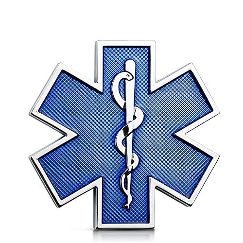 NXCY01 3D-Metallaufkleber mit Sternen-des-Life-Logo, blau, Notfall-Abzeichen, Emblem für die Seite des Kotflügels, Kofferraum-Dekoration, Aufkleber für die Haube (Farbe:...