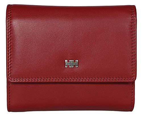 Elbleder Geldbörse Damen Leder Rot groß viele Fächer Hochformat RFID Schutz Blocker Echtleder Frauen Überschlag-Portemonnaie hochwertig Doppelnaht Geldbeutel Portmonaise Reißverschluss-Fach
