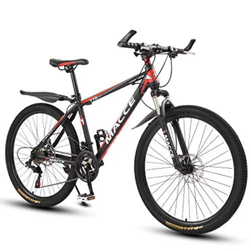 GL SUIT Fahrrad Mountainbike für Erwachsene Unisex, 24-Gang-Doppelscheibenbremsen leichte Carbon Stahlrahmen stoßdämpfender Federgabel Hard Tail Dirt Bike,Rot,24 inches