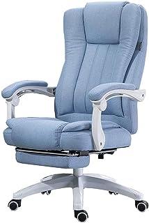 Silla de Escritorio para Oficina, sofá Silla para computadora, Silla Boss, Silla reclinable para Sala de Estar, Diseño reclinable a 150 °, Algodón Natural y Lino - Azul