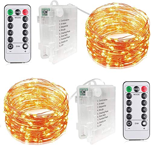 AIGUMI LED Fairy Lights Battery Powered String Lights, 100LEDs 33ft 8 Modes【Remote&Timer】Waterproof Fairy String Lights Copper Wire for Indoor,Bedroom,Wall,Wedding,Garden,Party,Christmas (Warm White)