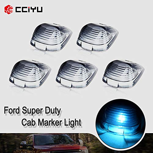 cciyu 5 Pack Smoke Roof Running Light Cab Marker Cover w168 T10 Ice Blue 5050 LED Bulb Replacement fit for Replacement fit for Ford F-250 F-350 F-450 F-550 E-150 E-250 E-350 E-450 E-550