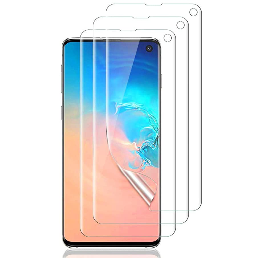 3Pack Galaxy S10 Film Full Coverage Friendly High Sensitivity Support Face and Eye Iris Unlock Anti Fingerprint PET Screen Protector Compatible with Samsung Galaxy S10 (Case Friendly)(Not Glass)Clear