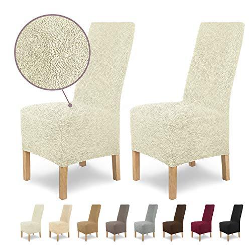 Housses de chaises SCHEFFLER-Home Jacquard Lea 2 Set, élastiques Couverture Spandex, Couvre de Chaise, Blanc-écru