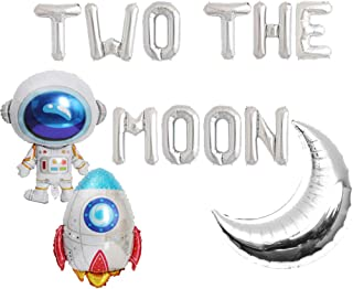 HEETON Two the Moon Balloons, 2 the Moon Space Birthday Party Banner, Galaxy Astronaut Space Man Robot UFO Theme baby 2nd Birthday Party Supplies Decoration