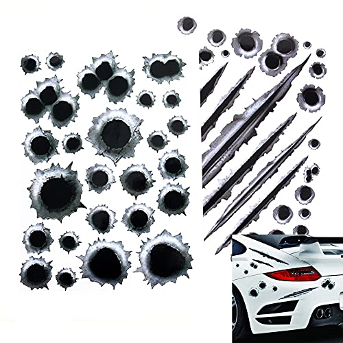 iSpchen Auto Aufkleber 3D Simulation Einschusslöcher Autoaufkleber Wasserdichter Aufkleber Dekoration Einschuss-Löcher Sticker für Lkw Auto Körper Stoßstangen Vorne Hinten Autotür,21x30cm