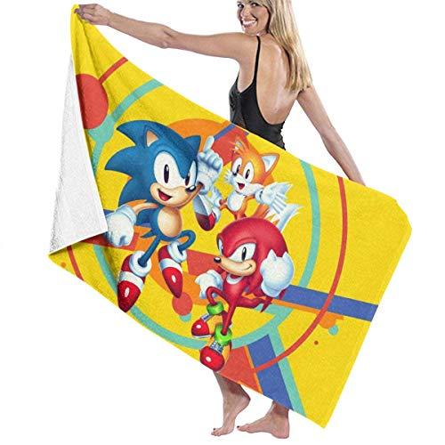 Ewtretr Toalla de Playa Sonic The Hedgehog 32 Beach Towels Ultra Absorbent Microfiber Bath Towel Picnic Mat for Men Women Kids