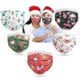 Acewin 50 Stück Einweg Maske Bunt Weihnachten mit Motiv CE Zertifizierte 3 Lagig Mund Nasenschutz Einwegmasken Erwachsene Atmungsaktive Mundschutz für Herren Damen Face Bandana