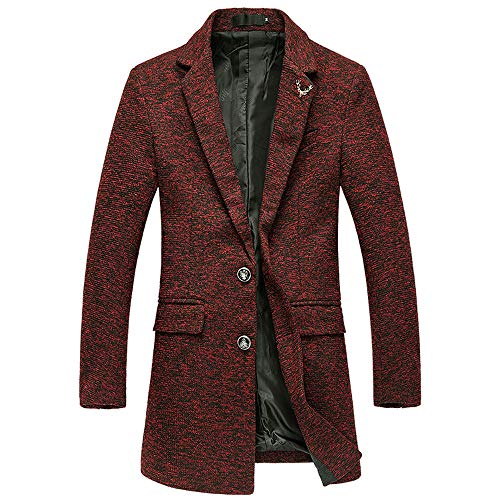 FRAUIT wollen jas heren herfst winter middellange knoop revers lange windjas mantel lange deel slank mantel mannen business vrije tijd elegant lange behart overcoat winterparka M-4XL