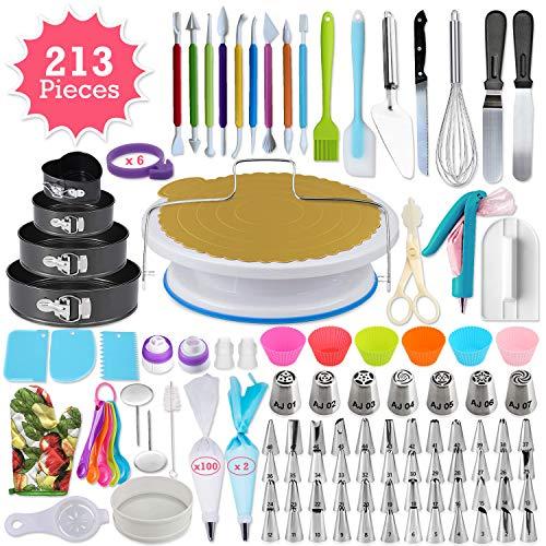333pcs Cake Decorating Kit - Complete Cake Decorating Supplies & Baking Supplies - Baking Kit with 2 Piping Bags and 55 Tips - Frosting Bags and Tips with Turntable - Cupcake Decorating Kit