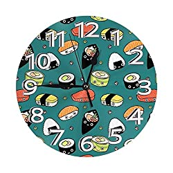 FISHISOK Japan Sushi Kawaii Wall Clock Fashion Round Digital Clock Luxury Mute Wall Clocks Features Indoor Decoration