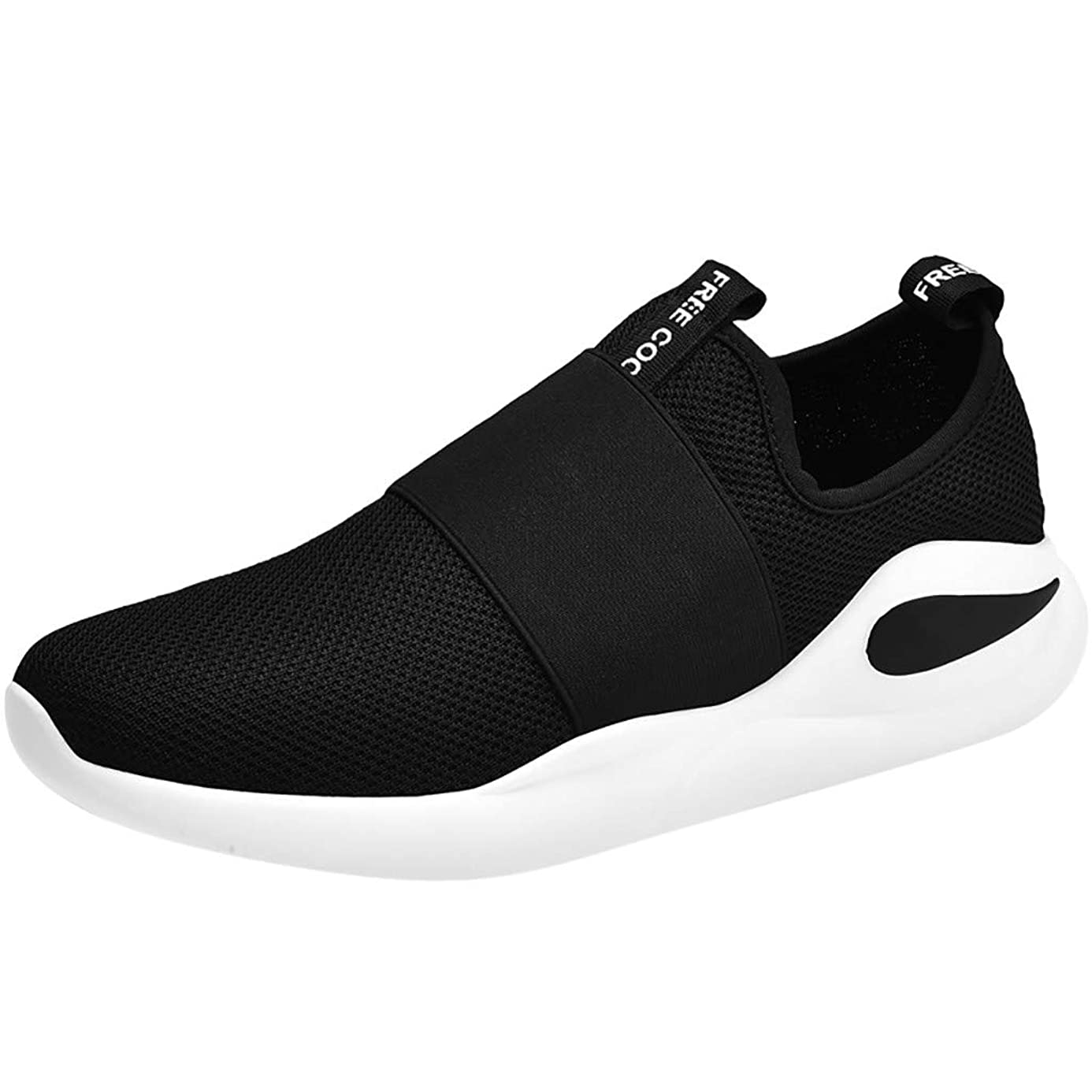 Mosunx Athletic Men's Mesh Slip On Breathable Sneakers, Boys Lightweight Comfortable Flat-Bottomed Sport Running Shoes Teen Student Casual Walking Shoes